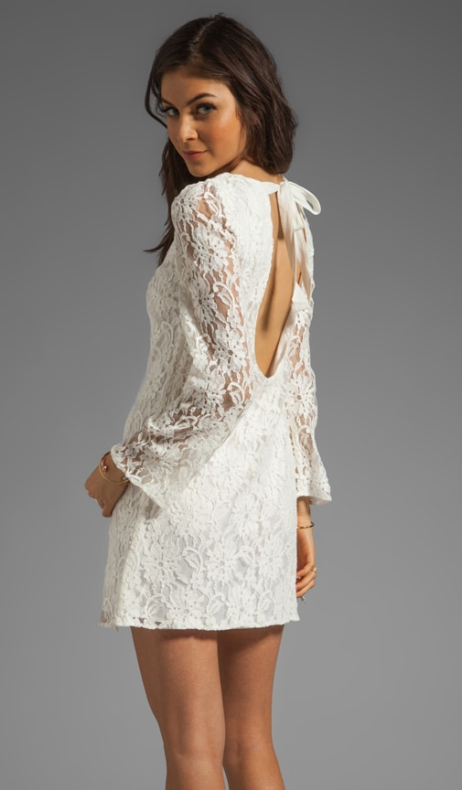 Lace Dress With Open Back And Tie