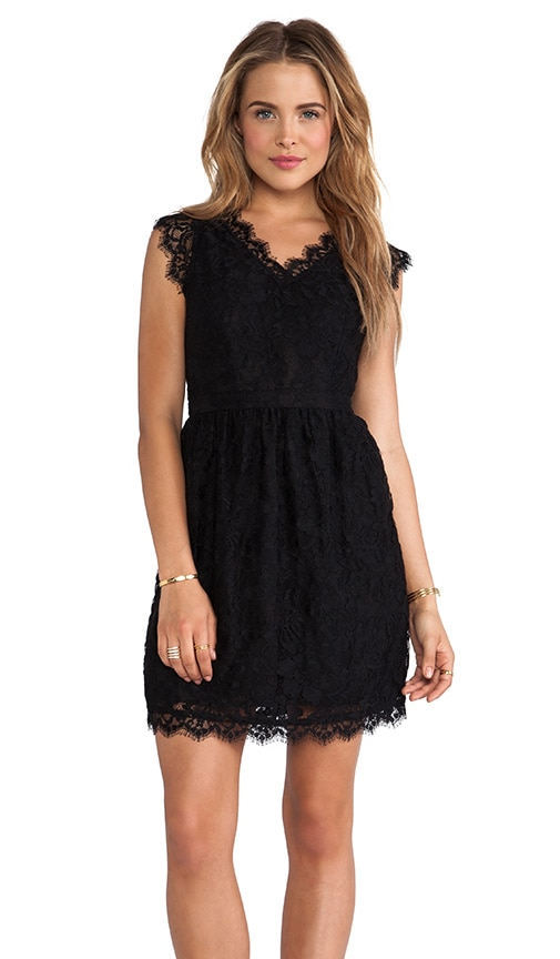 Mm Couture By Miss Me Cap Sleeve Allover Lace Dress In Black Revolve