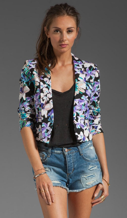 Cropped Floral Print Jacket