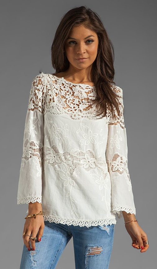 3/4 Sleeve Lace and Cotton Top