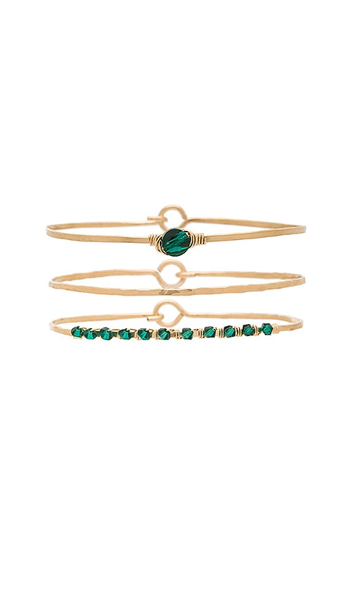 Mimi & Lu Priscilla Bangle Set in Metallic Gold