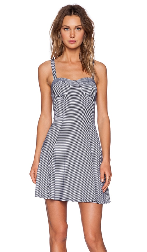 MINKPINK Stripe Bustier Dress in Navy & White