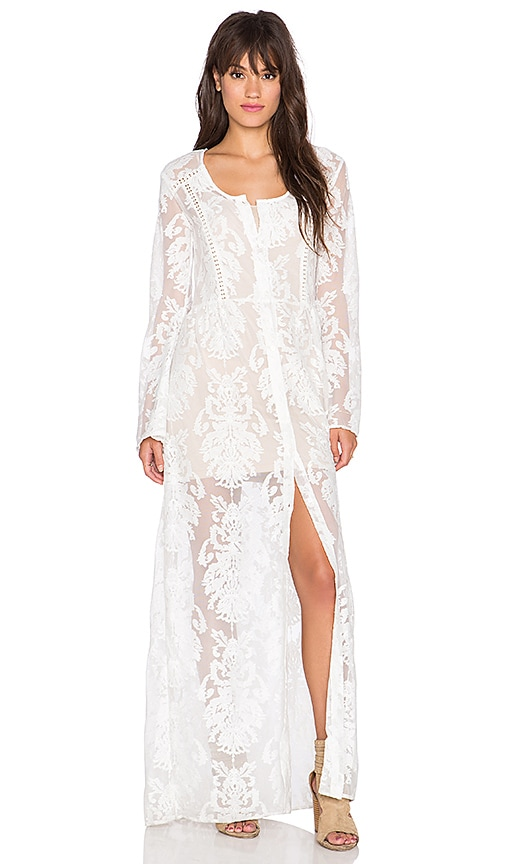 MINKPINK Crime of Passion Maxi Dress in Off White