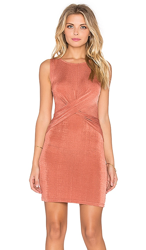 MINKPINK Forbidden Love Twist Front Mini Dress in Dusty Rose