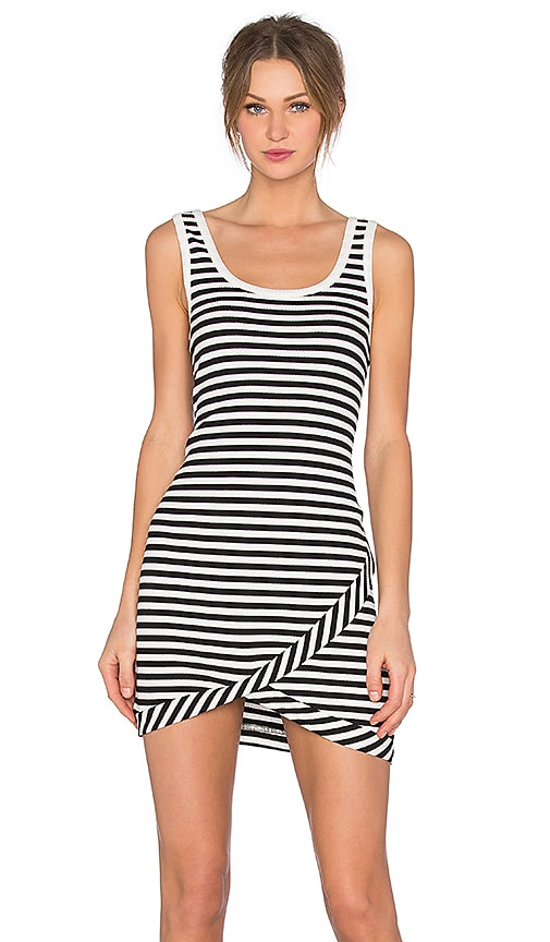 MINKPINK Strike Me Rib Mini Dress in Black & White