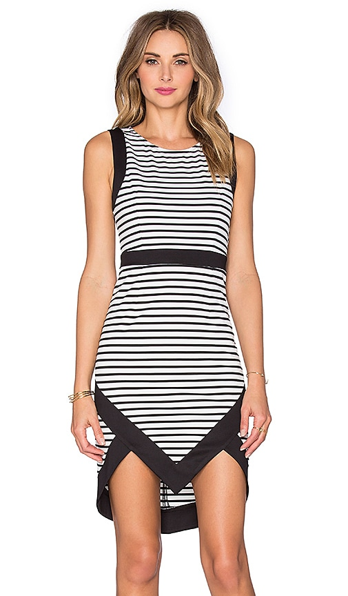 MINKPINK Hide & Seek Peak Hem Mini Dress in Black & White