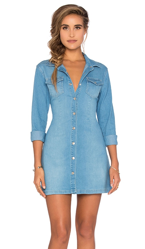 MINKPINK All I Want Button Up Dress in Blue