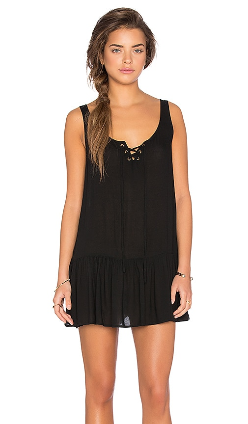 MINKPINK Island Bliss Lace Front Dress in Black