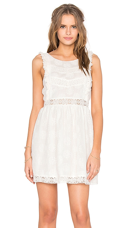 MINKPINK Wild Traveller Lace Dress in Off White