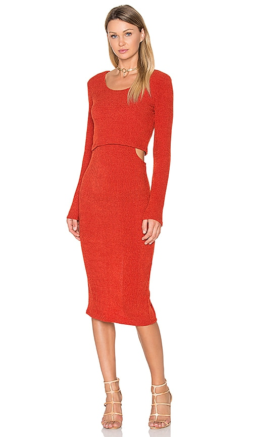 MINKPINK Maxi Cut Out Layered Dress in Rust