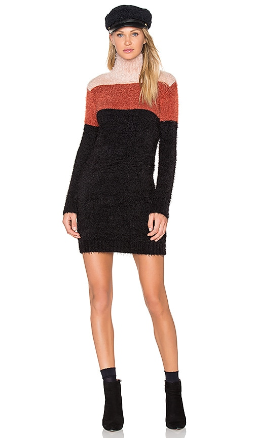 MINKPINK Snuggle Stripe Jumper Dress in Black