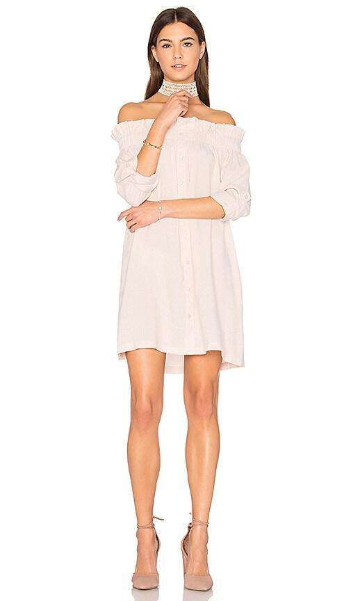 MINKPINK Business Class Off Shoulder Dress in Blush