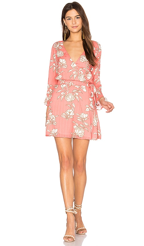 MINKPINK Lovina Wrap Dress in Coral