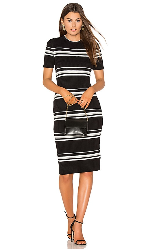 MINKPINK Stripe Rib Sweater Midi Dress in Black