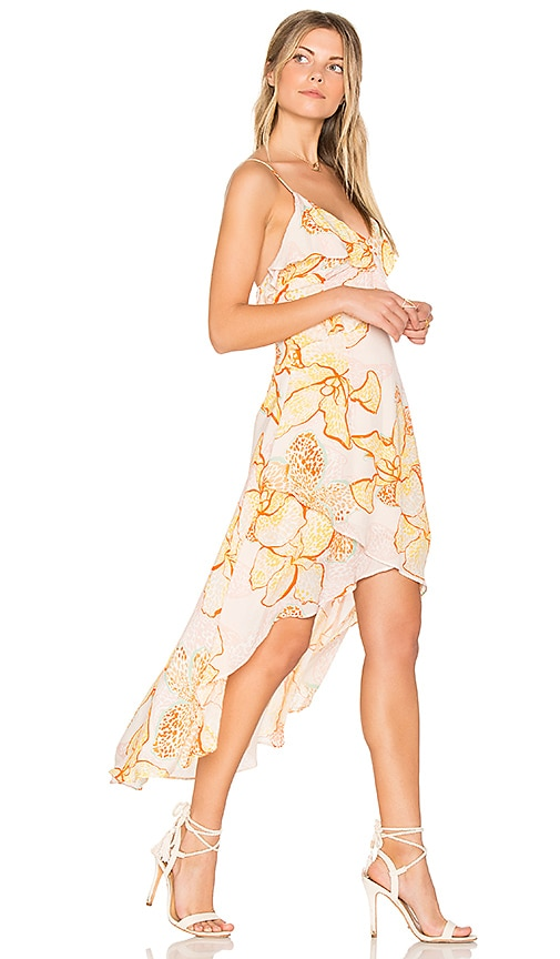 MINKPINK Animal Orchid Flounce Wrap Dress in Yellow