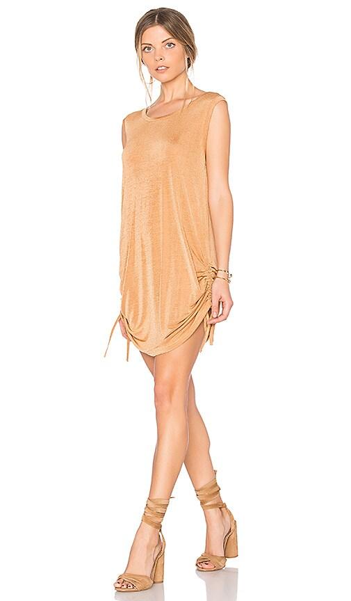 MINKPINK Desert Motel Drawstring Dress in Beige