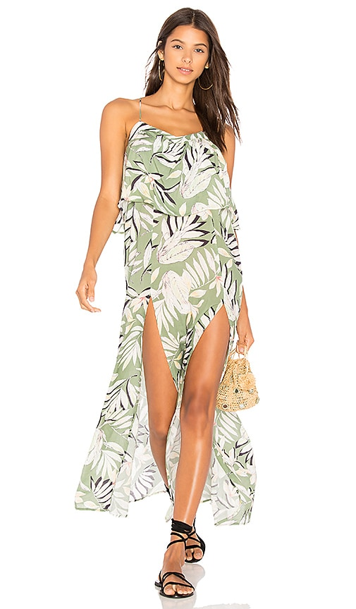 MINKPINK Shady Fronds Maxi Dress in Green