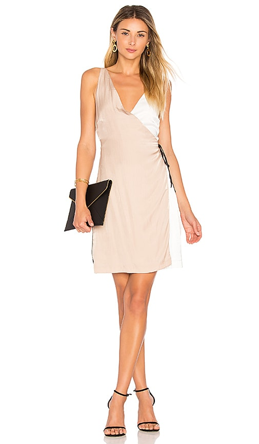 MINKPINK Color Block Wrap Dress in Beige