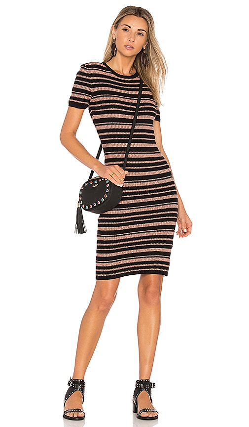 MINKPINK Luxembourg Stripe Knit Dress in Black