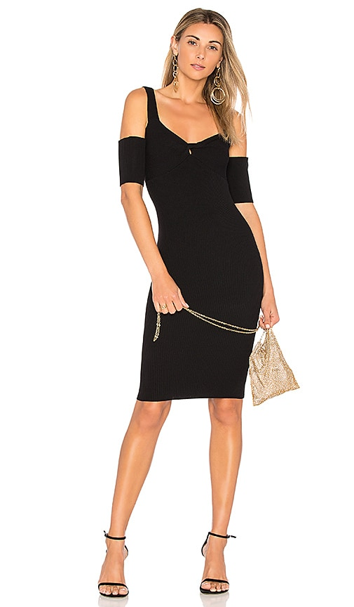 MINKPINK Francis Cold Shoulder Knit Dress in Black
