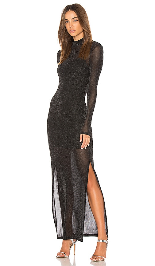 MINKPINK Silver Linings Maxi Dress in Black