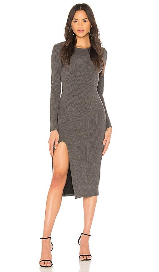 MINKPINK Influence Midi Dress in Charcoal Marle