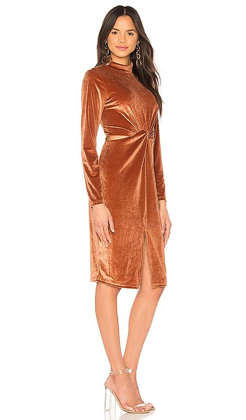 MINKPINK Canyon Velvet Twist Dress in Orange