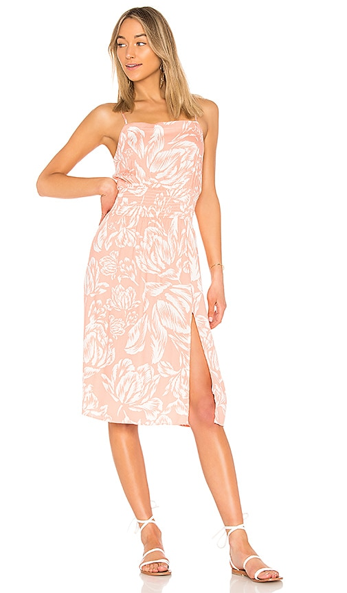 MINKPINK Coral Floral Midi Dress in Coral