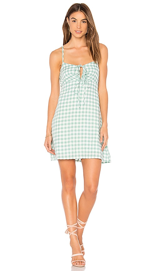 MINKPINK Sage Gingham Dress in Green