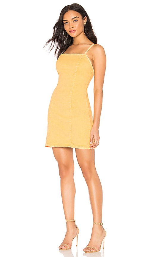 MINKPINK Spice Ally Denim Dress in Saffron