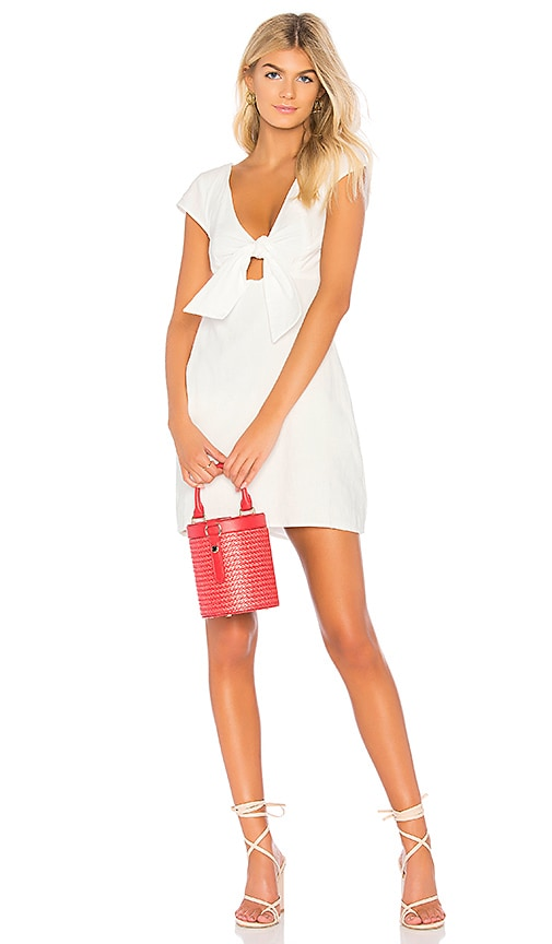 MINKPINK Tie Front Sweetheart Dress in White