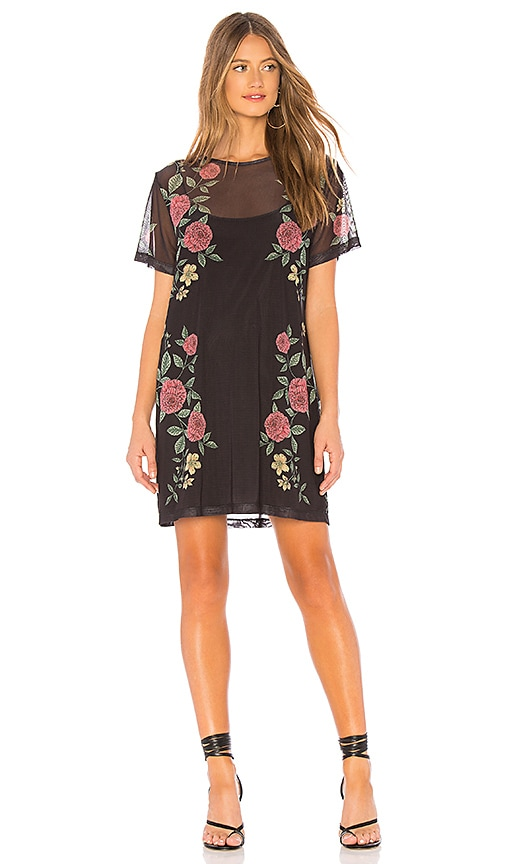 Night Rose Mesh Tee Dress