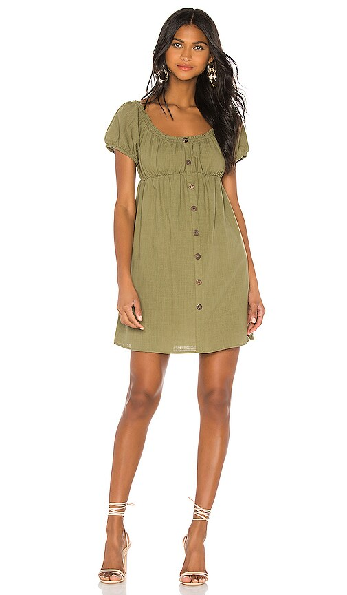 Linen Puff Mini Dress