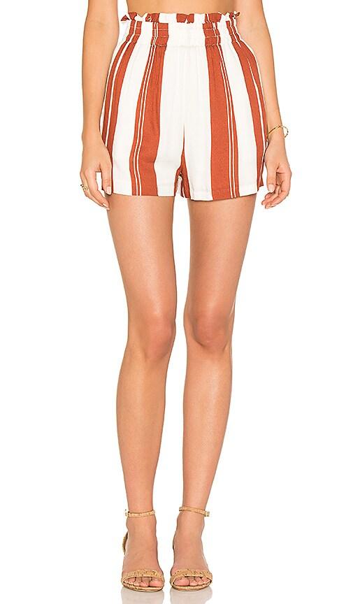 MINKPINK Stripe Paper Bag Shorts in Rust