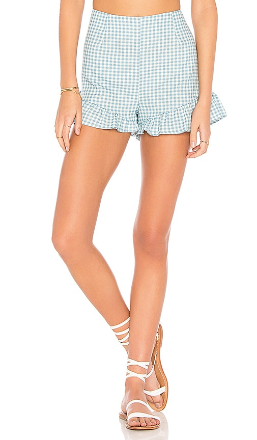 MINKPINK Toto Gingham Shorts in Baby Blue