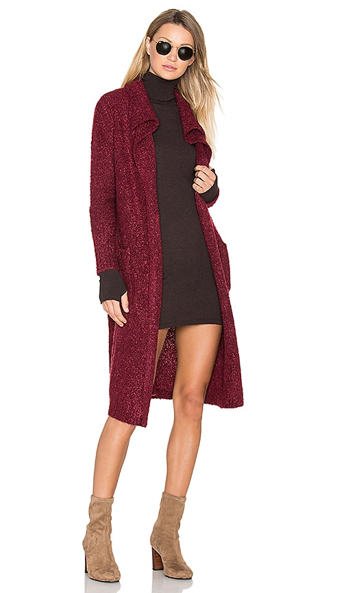 MINKPINK Looped Out Waterfall Cardigan in Burgundy