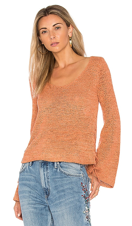 MINKPINK Beau Lace Side Sweater in Coral