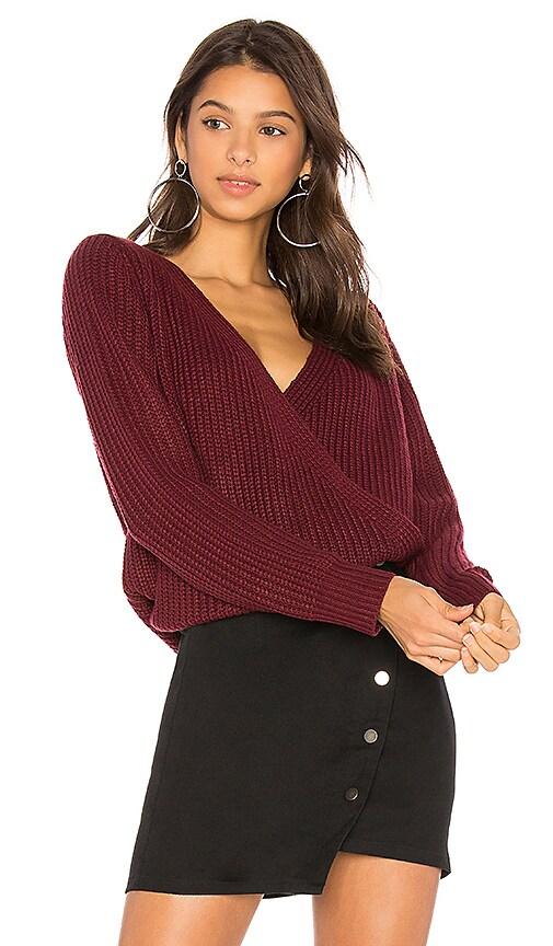 MINKPINK Carmen Wrap Front Sweater in Wine