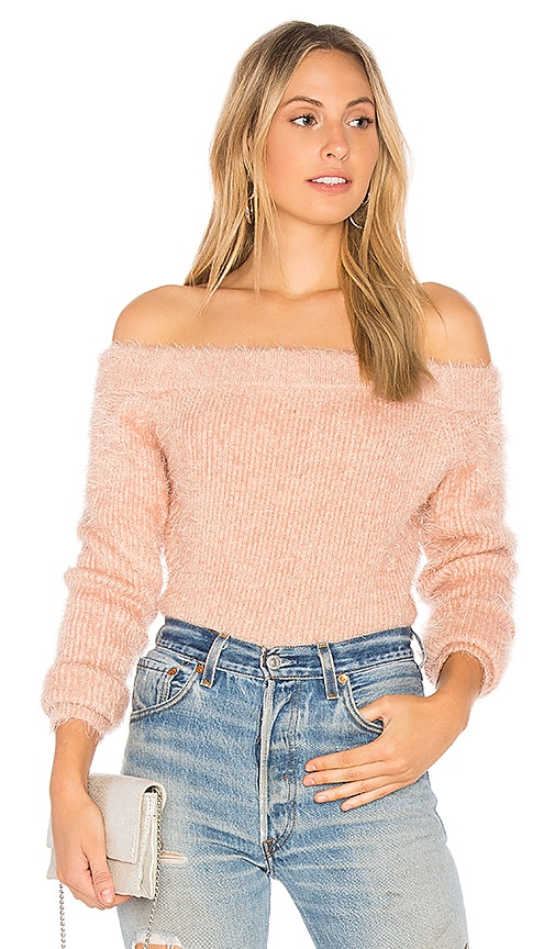 MINKPINK Florentine Off Shoulder Sweater in Pink