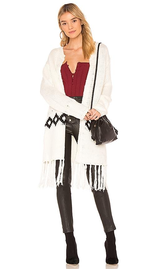 MINKPINK Fringe Festive Cardigan Sweater in Ivory