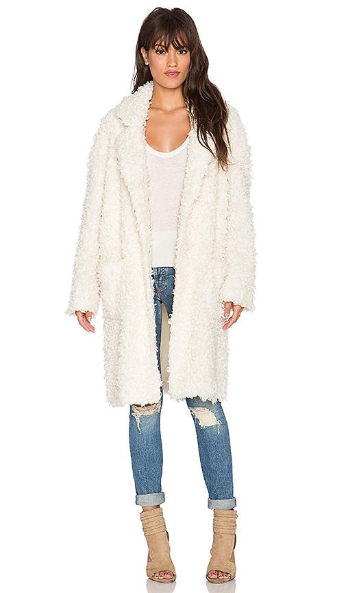MINKPINK Just Obsessed Faux Fur Coat in Honey