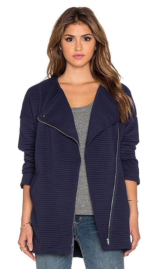MINKPINK Take Care Biker Jacket in Navy