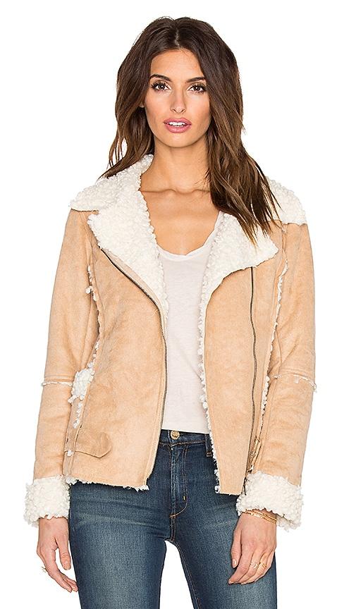 MINKPINK Believe Again Faux Fur Jacket in Team & Cream