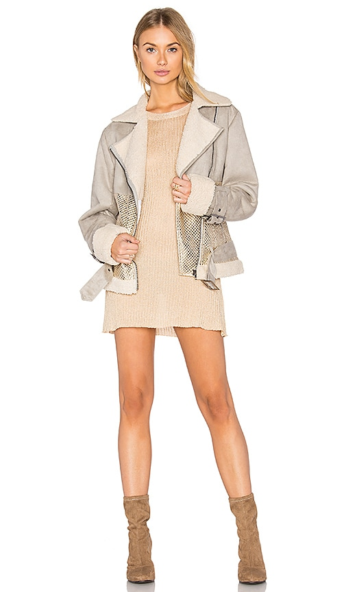 MINKPINK Major Tom Aviator Jacket in Gray