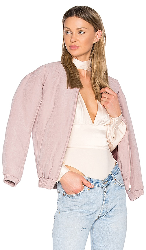 MINKPINK Puffer Bomber Jacket in Mauve