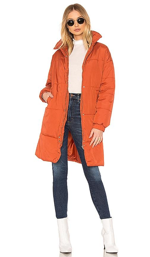 MINKPINK Midi Puffa Jacket in Orange