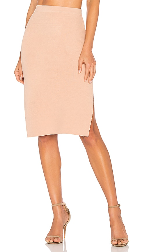 MINKPINK Knitted Pencil Skirt in Beige
