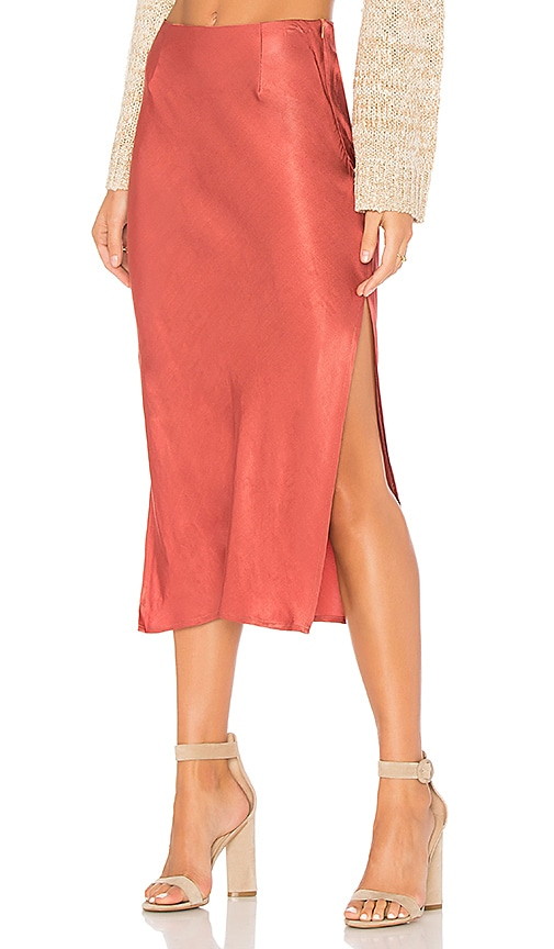 MINKPINK Rose Coloured Glasses Skirt in Rust