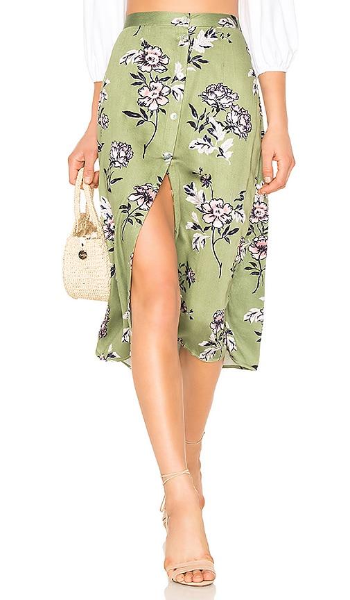 MINKPINK Wanderer Button Midi Skirt in Green