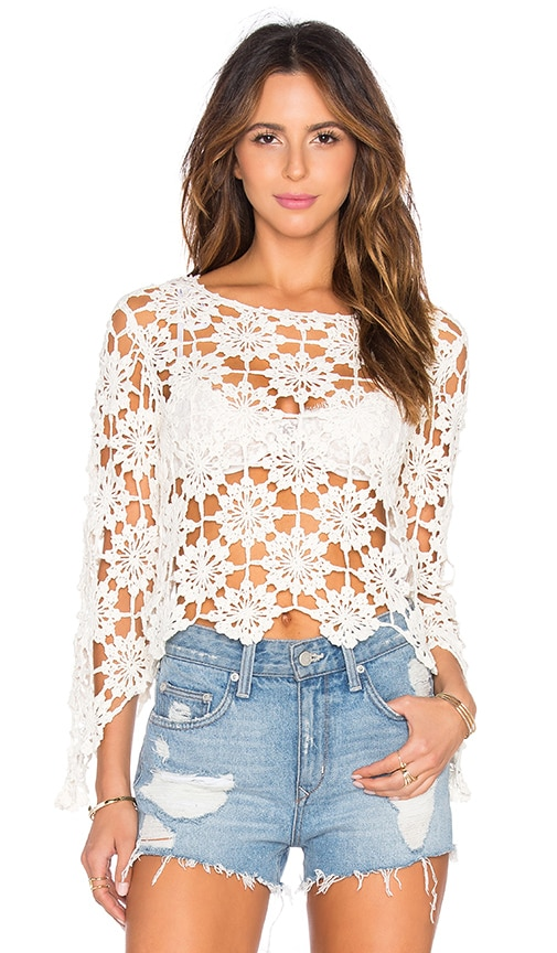 MINKPINK Build Me Up Crochet Top in Ivory